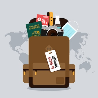 Backpack with travel essentials objects inside it illustration with grey world map on the background