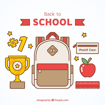 Backpack with trophy and other elements