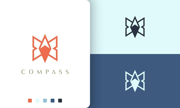 Backpacker or adventure logo vector design with simple and modern compass shape