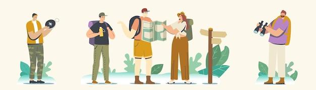 산이나 바위에 백패커 캐릭터. 여행자 모험, 여름 휴가, 하이킹 취미 개념. 관광객들은 야외에서 길을 걷고 지도로 올바른 길을 찾습니다. 선형 사람들 벡터 일러스트 레이 션
