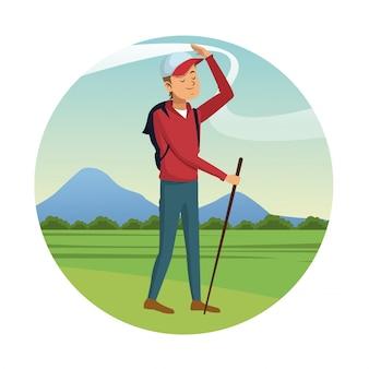 Backpacker man cap walking stick-badge