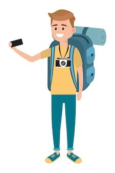 Backpacker tourist man