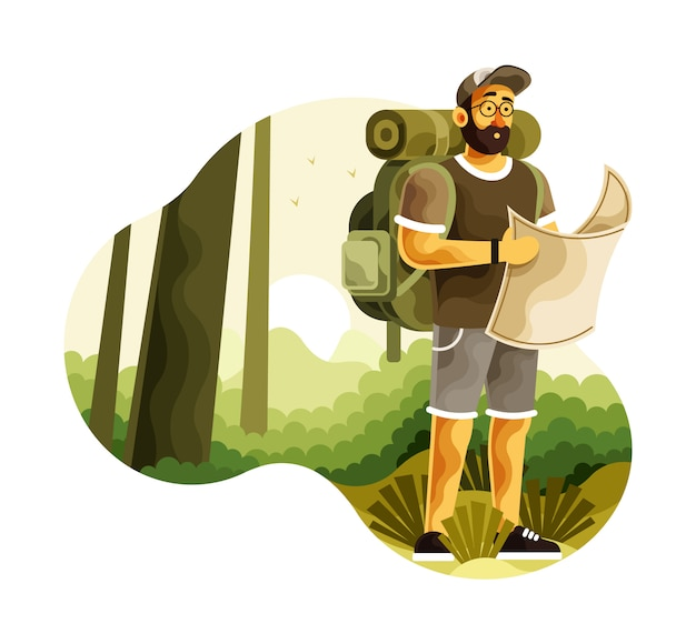 Backpacker with map search directions in wilderness