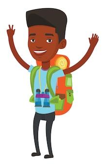 Backpacker с руки вверх, празднование успеха.