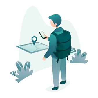 Концепция путешествий иллюстрация backpacker ищет местоположение с помощью приложения карты на смартфоне