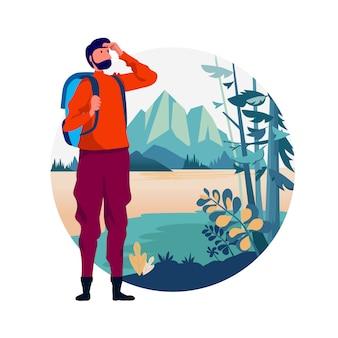 Туристическое приключение backpacker.