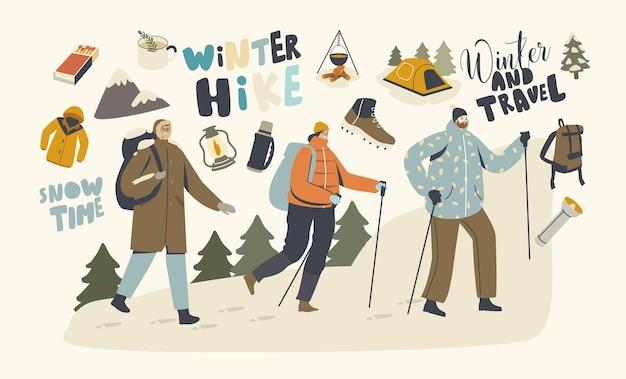 スカンジナビアの棒で岩に登るバックパッカーのキャラクター。男性、女性の旅行者の冒険、冬の休暇のハイキングの趣味の概念。屋外のルートを歩く観光客。線形の人々のベクトル図