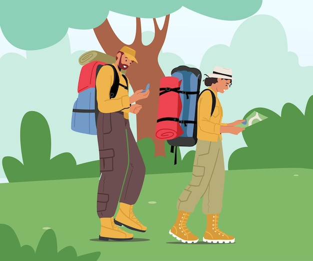 Backpackers learning map choosing right way. travelers hiking adventure, vacation trip concept. active tourists hike