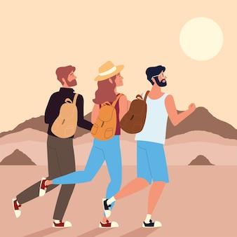 冒険の砂漠の風景を歩くバックパッカー