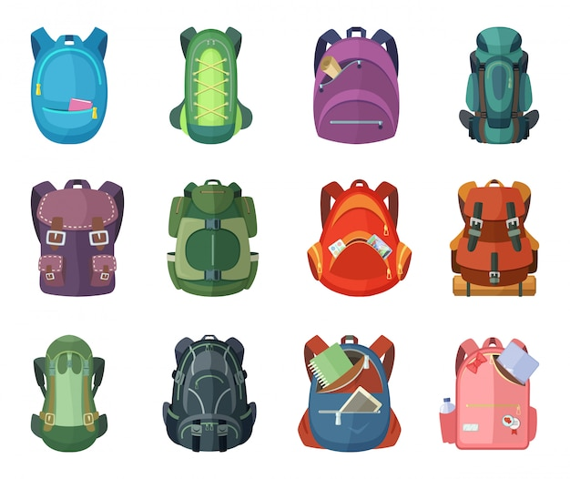 Backpacks for school and hiking. vector illustration in flat style