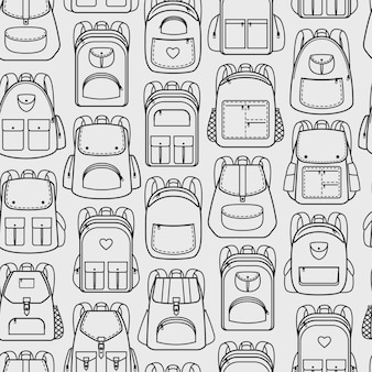Backpacks seamless pattern. sport and vacation, school and hiking back packs and haversacks