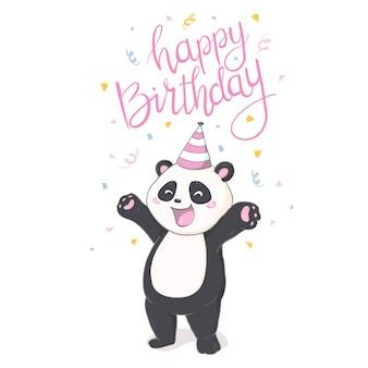 Счастливый стикер панды рождений на белом backround.