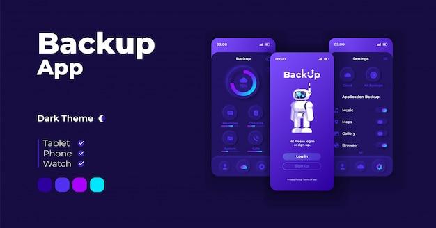 バックアップアプリケーション漫画スマートフォンインターフェイステンプレートセット。モバイルアプリの画面ページのナイトモードのデザイン。クラウドストレージのログインとアプリケーションの設定ui。フラットな文字の電話ディスプレイ。