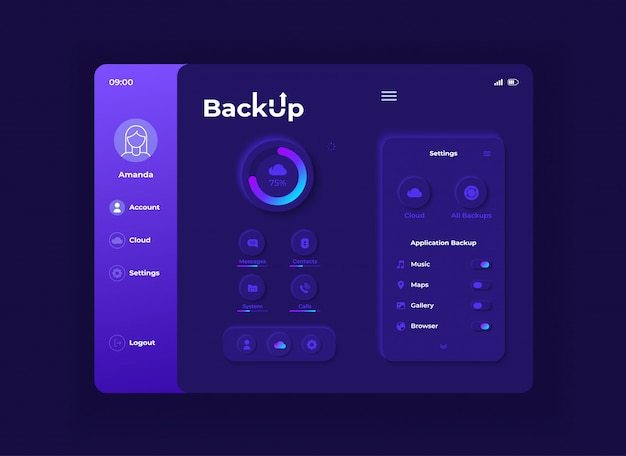 Backup application tablet interface  template. mobile app page night mode design layout. cloud storage service screen.  ui for application. data upload process on portable device display.