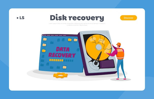 バックアップ、データ復旧および保護サービス、ハードウェア修理のランディングページテンプレート