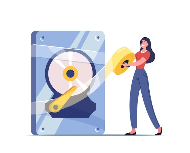 Backup, data recovery and protection service, hardware repair illustration