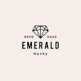 エメラルドの宝石ヒップスターヴィンテージロゴアイコンイラストのバックアップ