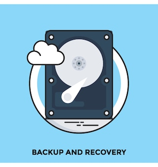 Backup and recovery flat vector icon
