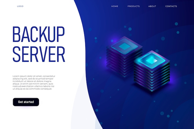 Backup server illustration concept with header and place for text.