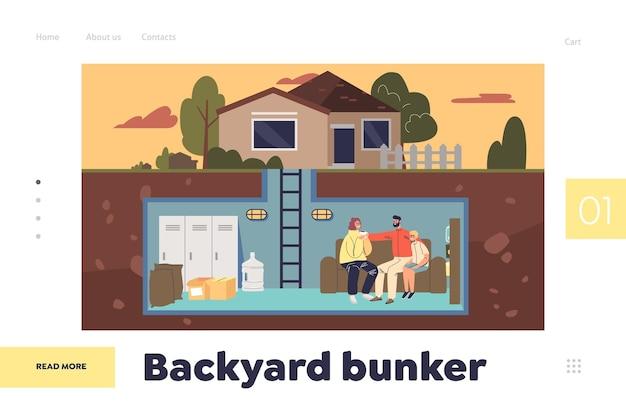 Концепция бункера на заднем дворе целевой страницы с семьей в подземной домашней безопасной комнате с продуктами питания. родители и ребенок, сидя на диване в убежище для выживания. плоские векторные иллюстрации шаржа