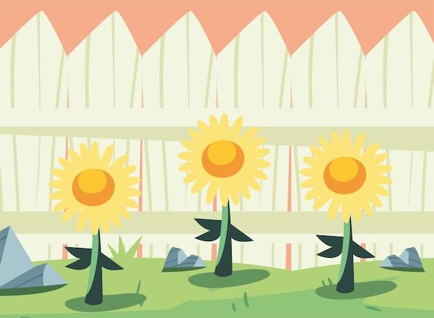 정원 장면 뒤뜰 울타리