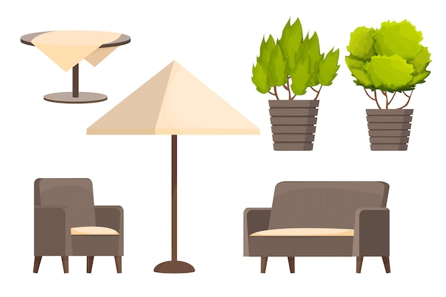 Backyard furniture set comfortable armchair sofa parasol table with tablecloth and plants in car