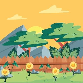 뒤뜰 정원과 울타리 장면