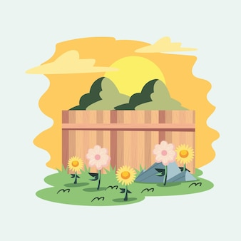 울타리 장면 뒤뜰 정원