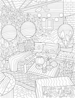 裏庭のラウンジ落書きぶら下げランプテーブル椅子無色の線画屋外のラウンジエリア