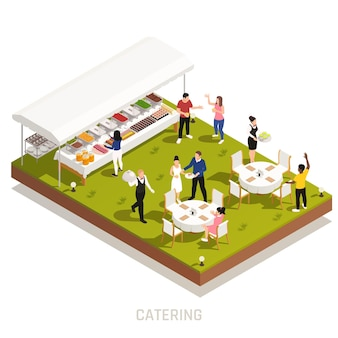 Backyard wedding reception catering with outdoor buffet and waiters serving tables on grassy area isometric illustration