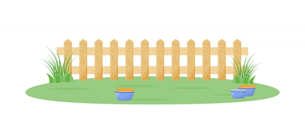 Backyard with fence flat color illustration
