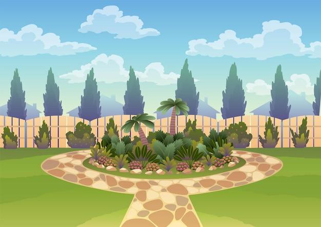 화단과 나무 울타리 울타리가 있는 뒤뜰. 잔디와 공원 식물, 푸른 나무와 덤불. 정원 디자인 건축