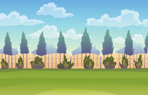 나무 울타리와 울타리가 있는 뒤뜰. 잔디와 공원 식물, 나무와 덤불. 간단한 정원 건축 디자인.