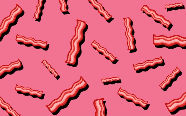 Bacon pattern food wallpaper illustration