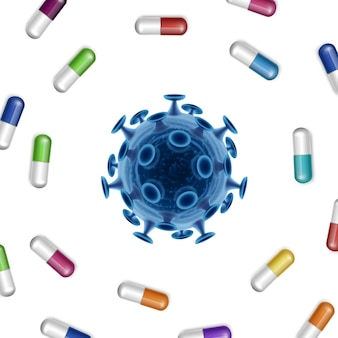 Bacteria  background with pills and coronavirus in the middle