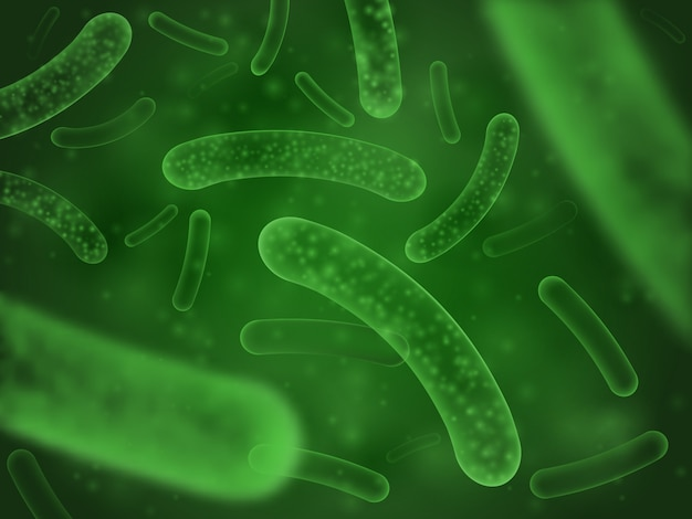 Bacteria biological concept. micro probiotic cells green scientific abstract