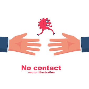 Bacteria on hand. coronavirus transmitted through a handshake