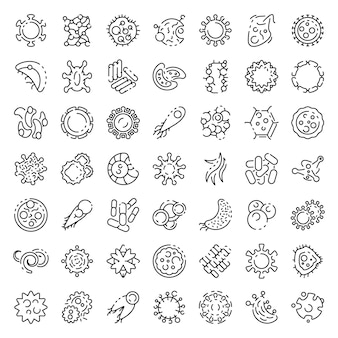 Bacteria icons set, outline style