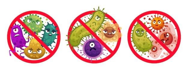 禁止標識の細菌。コミックは微生物とウイルス、細菌保護と消毒注意アイコン漫画イラストセットを消しました。