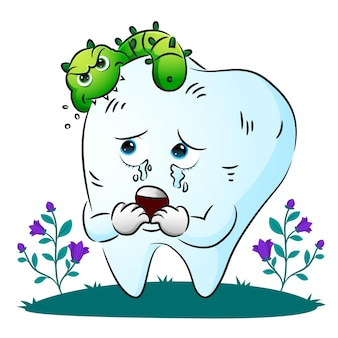 The bacteria is biting the tooth body and made the tooth scary of illustration