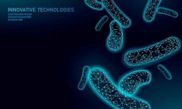 Bacteria  low poly render probiotics. healthy normal digestion flora of human intestine yoghurt production. modern science technology medicine allergy immunity thearment