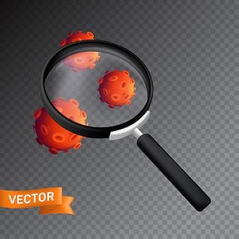 Бактерии или вирусные клетки под увеличительным стеклом. иллюстрация, изолированные на прозрачном фоне