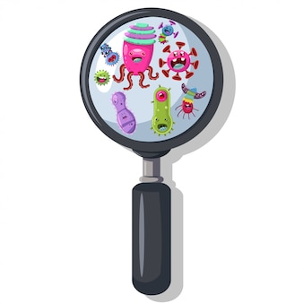 Bacteria, virus, germ under the magnifying glass. cute monster, microbe and pathogen vector cartoon character isolated
