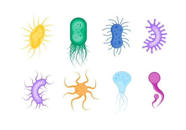 バクテリアと細菌微生物のアイコンバクテリアと微生物生物アレルゲンのイラスト