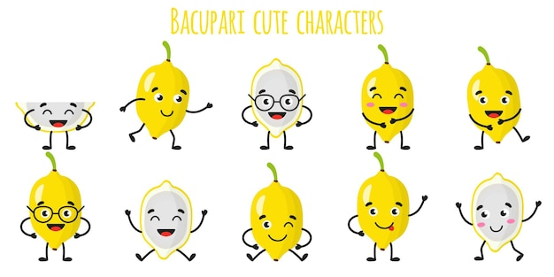 Bacupari fruit cute funny cheerful characters with different poses and emotions. natural vitamin antioxidant detox food collection.   cartoon isolated illustration.