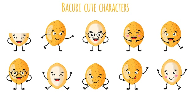 Bacuri fruit cute funny cheerful characters with different poses and emotions. natural vitamin antioxidant detox food collection.   cartoon isolated illustration.