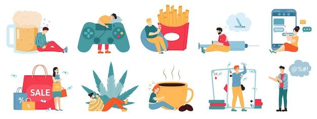 悪い中毒。麻薬中毒、過食、アルコール依存症、不健康なライフスタイルを持つ男性と女性のキャラクター。
