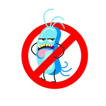 Bad bacteria. vector illustration. sign is prohibited.