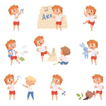 悪い行動の子供たち。学校の悲しい男の子と女の子の怒っている悪魔の小さな人のキャラクター。