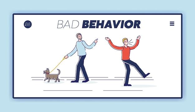 사람들이 지나가는 사람과 꾸짖고 비명을 지르는 나쁜 행동 방문 페이지 개념